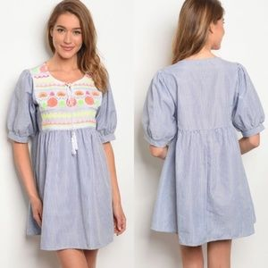 Short Puff Sleeve Embroidery Detail Tunic Dress